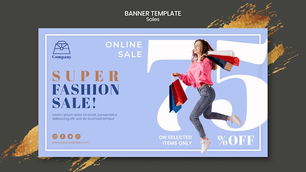Modello di banner di vendita di moda
