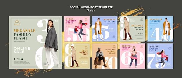 Fashion sales instagram posts template