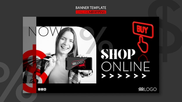 Fashion shop online horizontal banner