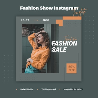 Fashion show instagram post and banner template