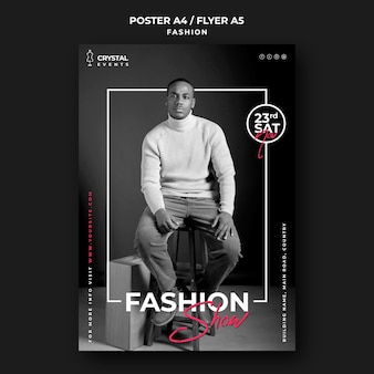 Fashion show male model flyer template