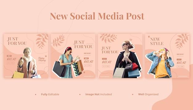ファッションソーシャルメディアバナーとinstagramの投稿テンプレート