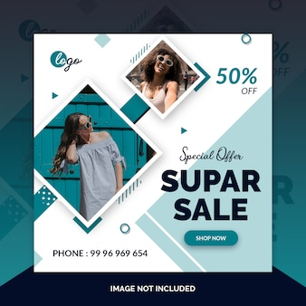 Fashion social media post design template