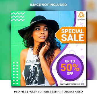 Fashion social media sale abstract modern purple template
