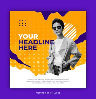 Fashion square banner or flyer template