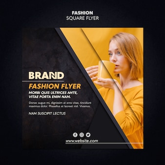 Fashion square flyer template design