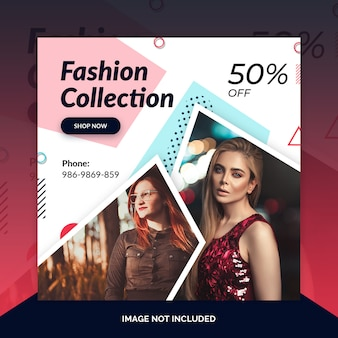 Fashion store instagram post, square banner or flyer template