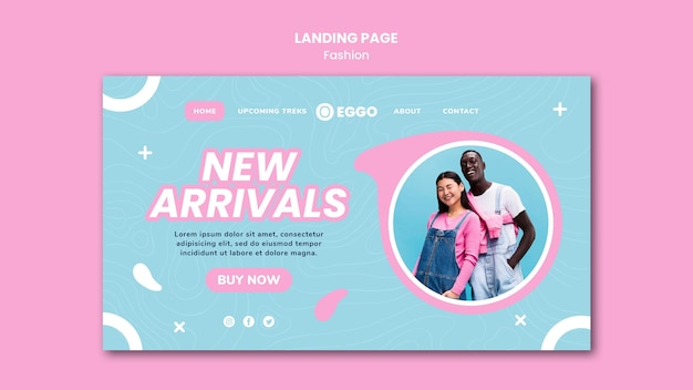 Fashion store landing page with photo