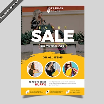 Fashion summer sale flyer template