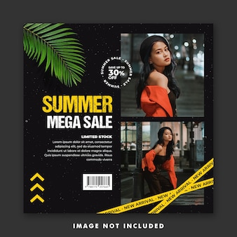 Fashion summer social media post template for girl