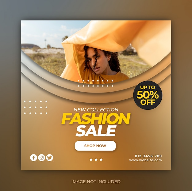 Fashion super sale social media special promo post template