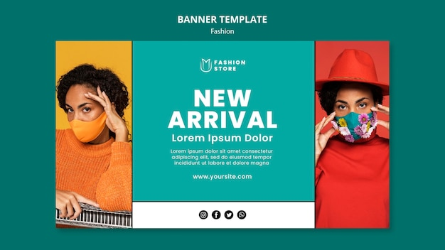 Fashion trends horizontal banner  template