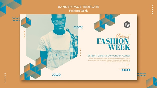 Fashion week banner page template