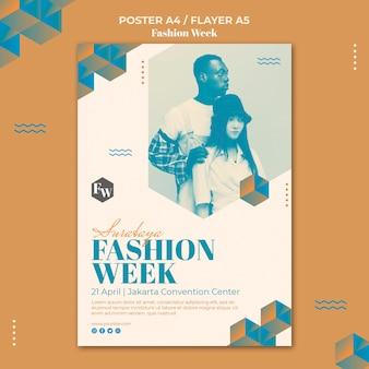 ファッション週間チラシテンプレートデザイン