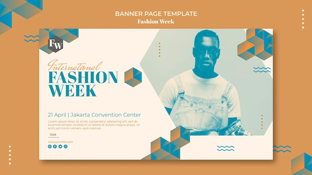 Шаблон горизонтального баннера недели моды