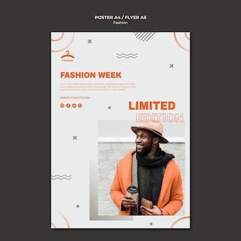 Modello di poster con offerta limitata per la settimana della moda