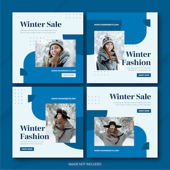 Fashion winter sale instagram post bundle template