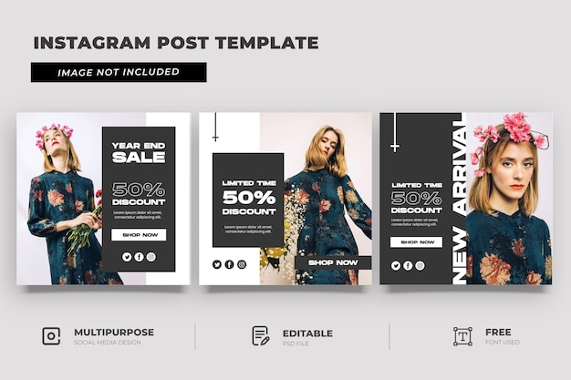 Fashion year end sale social media template