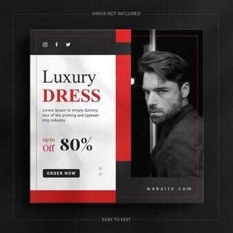 Модный шаблон поста в instagram с черным динамическим макетом