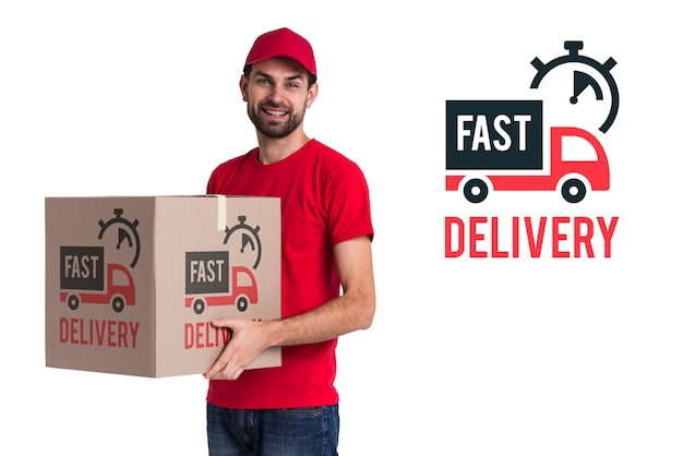 Fast delivery and man in red costume