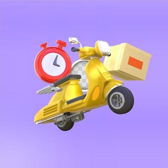 Быстрая доставка транспортным средством. 3d рендеринг