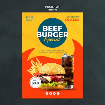 Fast food ad poster template