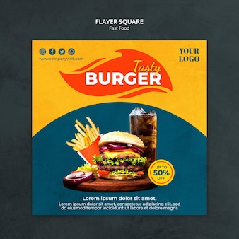Fast food ad square flyer template