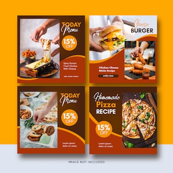 Fast food banner social media post template collection
