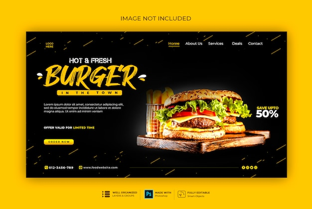 Fast food or burger web banner template
