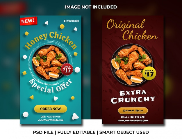 Fast food chicken restaurant social media stories simple blue and brown template
