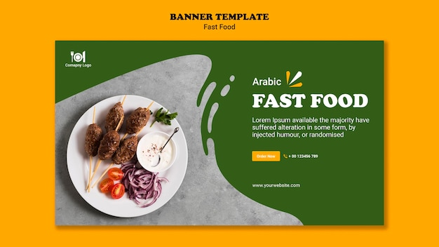 Fast food concept banner template