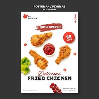 Fast food flyer template with photo