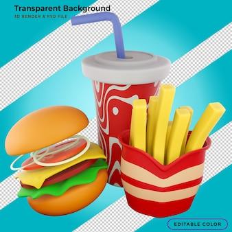 패스트 푸드 햄버거, 감자 튀김, 청량 음료 3d 그림