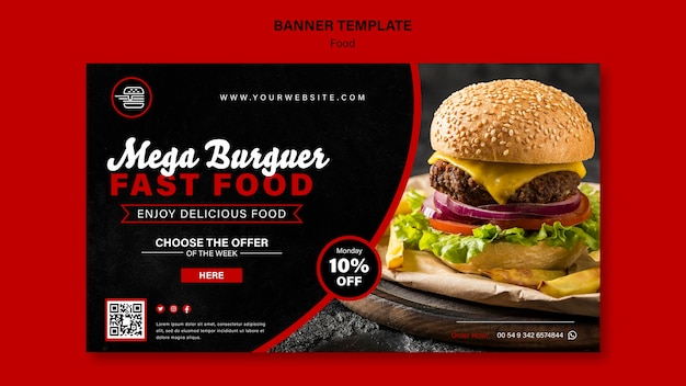 Fast food horizontal banner template