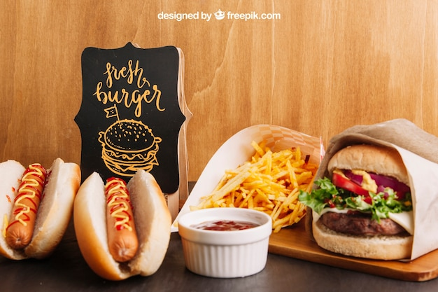 Fast food mockup with hot dogs and hamburger
