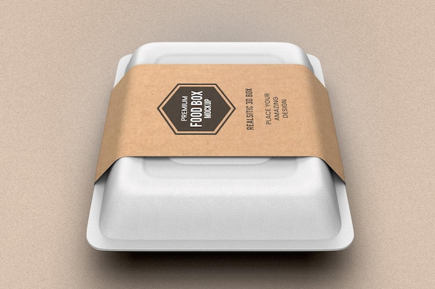 Fast food parcel packaging box mockup
