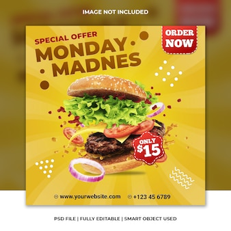 Fast food restaurant hamburger yellow cheese social media template