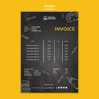 Fast food restaurant invoice template