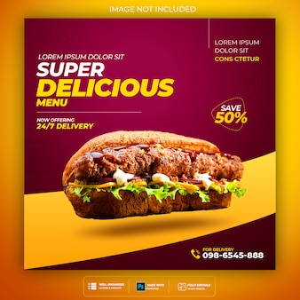 Fast food social media banner template Premium Psd