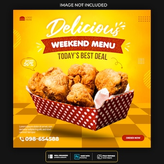 Fast food social media banner template