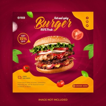 Fast food social media post or instagram banner template
