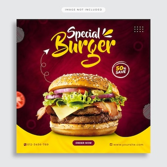 Fast food social media promotion and instagram banner post template