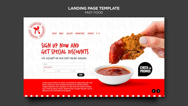 Fast food template landing page