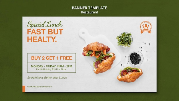 Fast but healthy food restaurant banner template