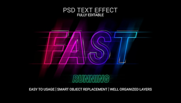 Fast running text effect template