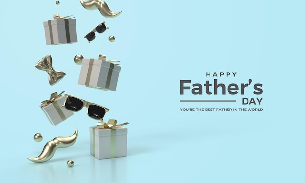 Father's day 3d render with a gift box and flying glasses
