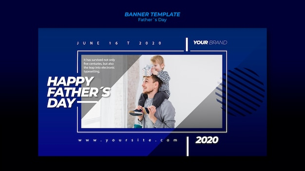 Father's day banner template with child