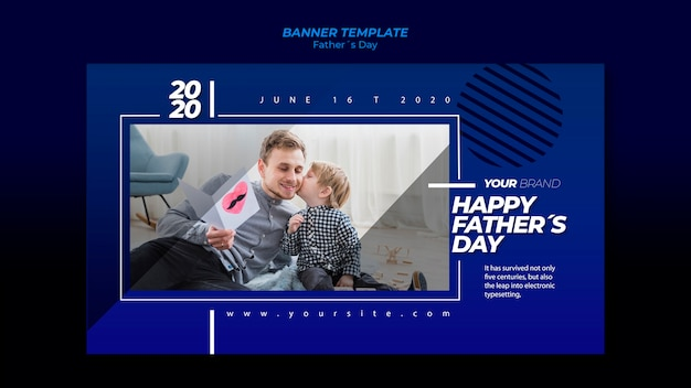 Father's day banner template with father and son