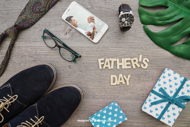 Father's day composition with lettering