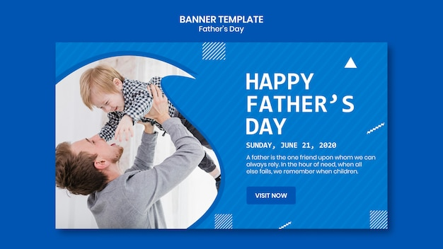 Father's day dad holding his child banner template